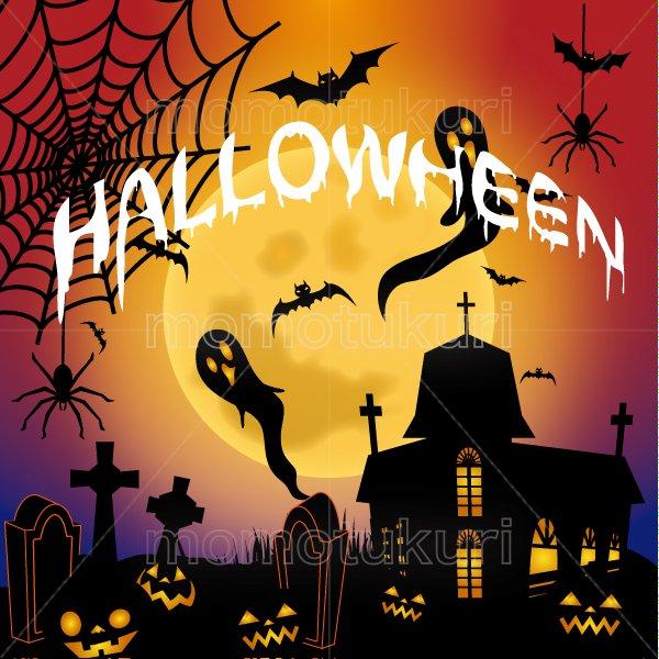 ハロウィン 背景イラスト (かぼちゃ 館 こうもり 満月   おばけ 墓地 クモの巣 クモ) 紫 5