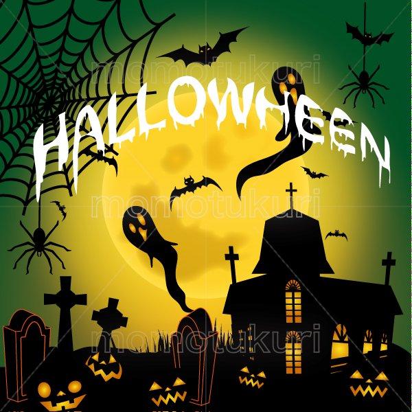 ハロウィン 背景イラスト (かぼちゃ 館 こうもり 満月   おばけ 墓地 クモの巣 クモ) 緑 4