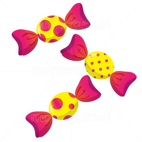 お菓子 包み キャンディ  3個   水玉模様 赤 オレンジ ピンク 黄色 2