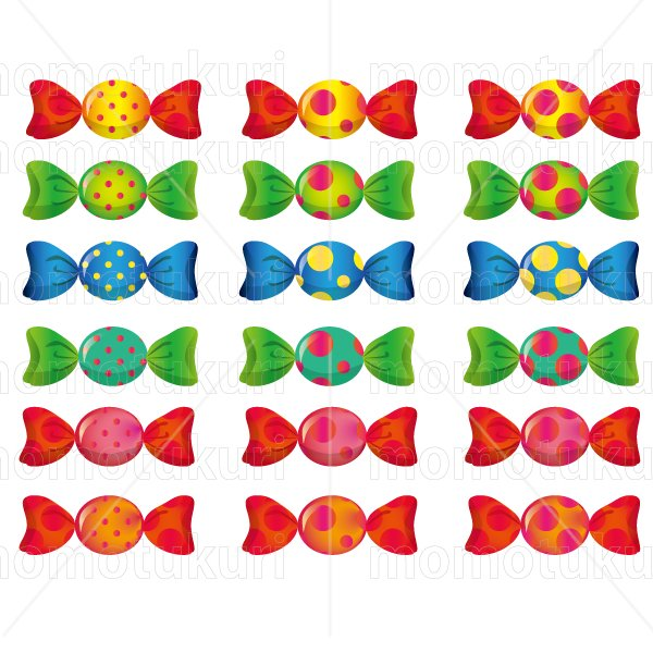 お菓子 包み キャンディ   黄緑 緑 青 水色 ピンク 赤 オレンジ 黄色  6色 18個 セット