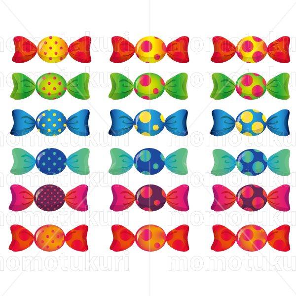 お菓子 包み キャンディ   黄緑 緑 青 水色 ピンク 赤 オレンジ 黄色  6色 18個 セット  2