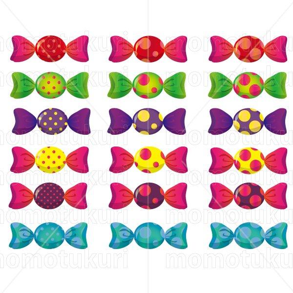 お菓子 包み キャンディ   黄緑 緑 青 水色 ピンク 赤 オレンジ 黄色  6色 18個 セット  3