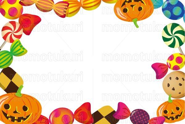 ハロウィン 横ハガキ(縦100mm×横148mm) (お菓子 クッキー ペロペロキャンディ 包みキャンディ かぼちゃ)