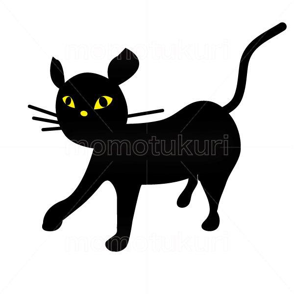 ハロウィン 歩く黒猫のイラスト