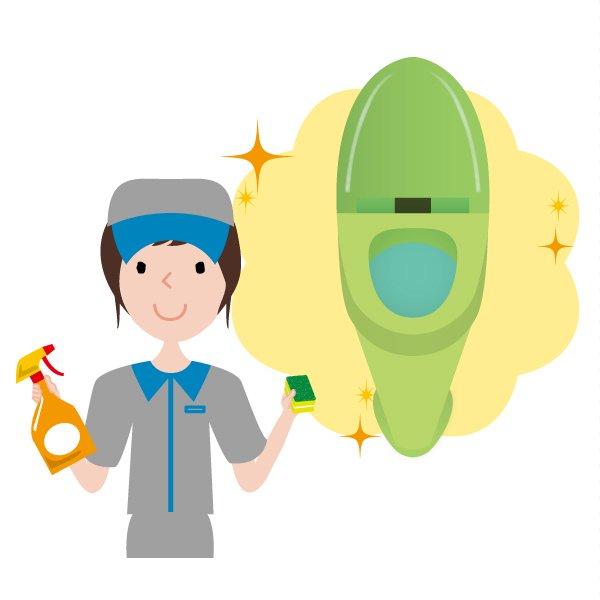 トイレ清掃後キラキラ、ピカピカになった様子のイラスト ハウスクリーニング  女性  灰色 半袖 (帽子)スポンジと洗剤を持っている女性スタッフ。イラスト。上半身