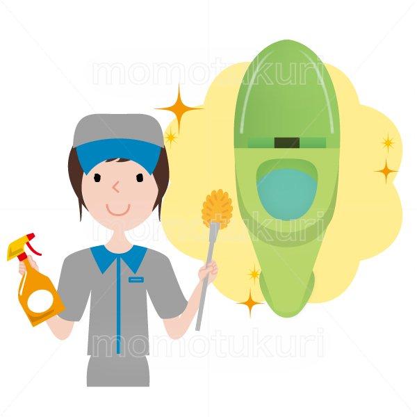 トイレ清掃後キラキラ、ピカピカになったのイラスト ハウスクリーニング  女性  灰色 半袖 (帽子)トイレ用ブラシと洗剤を持っている女性スタッフ。イラスト。上半身