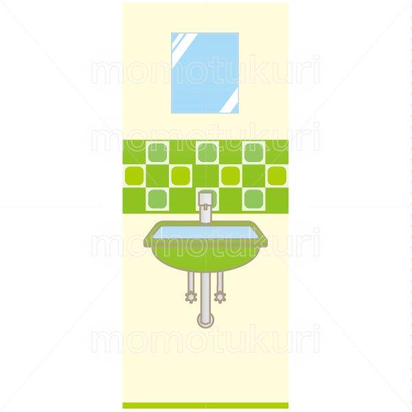 洗面所のイラスト 緑 2