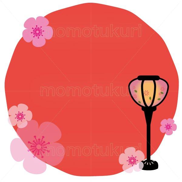 ひな祭り ぼんぼり 春のフレーム イラスト