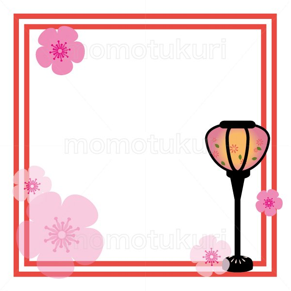 ひな祭り ぼんぼり 春のフレーム イラスト 2