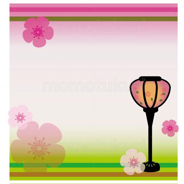 ひな祭り ぼんぼり 春のフレーム イラスト 3