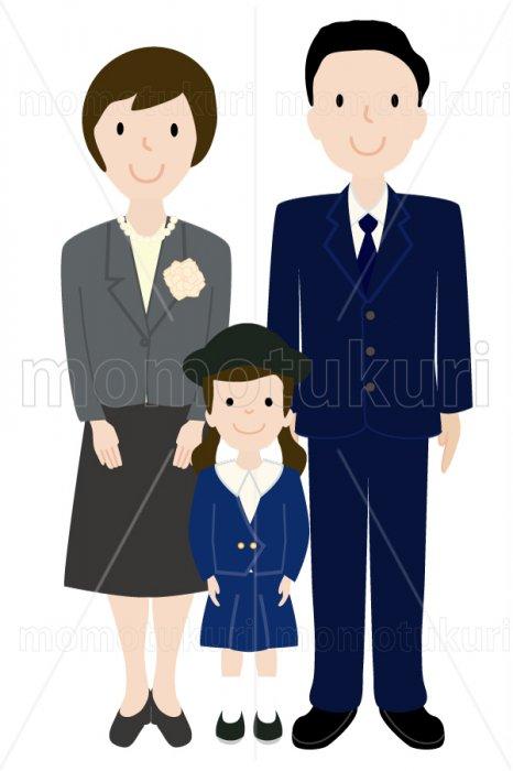 制服を着た幼稚園児と母親と父親 女の子 少女 親子