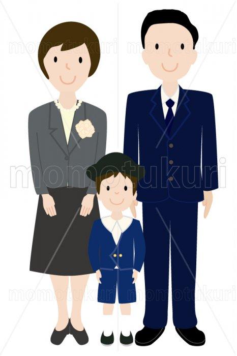 制服を着た幼稚園児と母親と父親 男の子 少年 親子