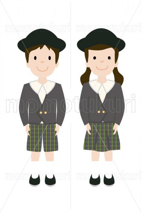 制服を着た幼稚園の男の子と女の子 2
