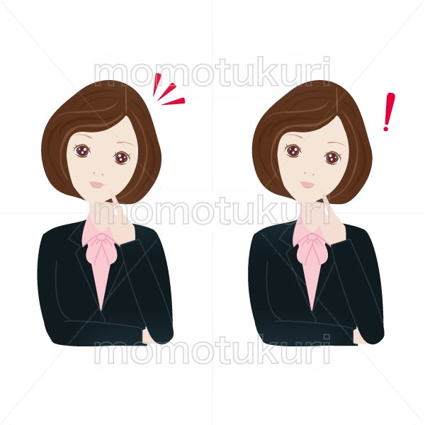 女性 OL ポイント チェック こちら おススメ(おすすめ)ビジネス(仕事)びっくり 上半身 イラスト  2つセット 6