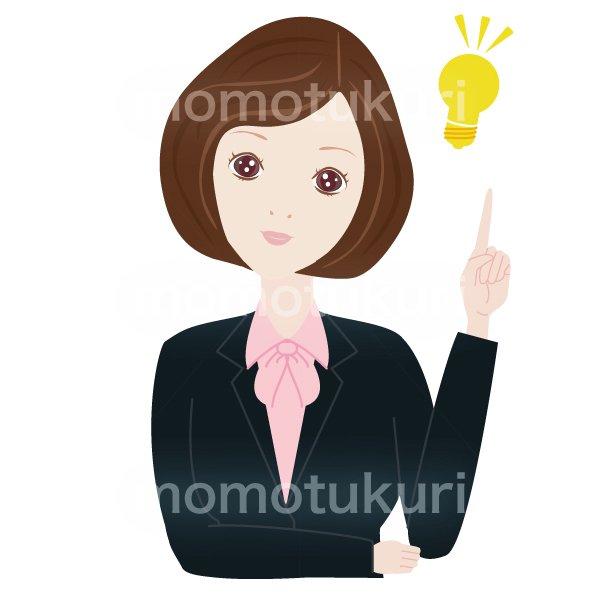 女性 OL ポイント チェック こちら おススメ(おすすめ)ひらめき ビジネス(仕事)上半身 イラスト 3