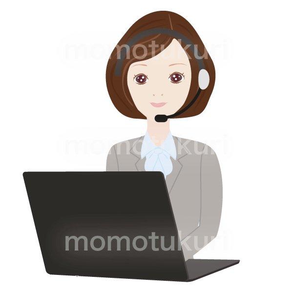 コールセンターの女性 パソコンで仕事をするOL ビジネス(仕事)上半身 イラスト