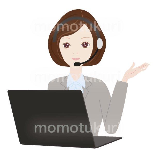 コールセンターの女性 パソコンで仕事をするOL ポイント チェック こちら おススメ(おすすめ)ビジネス(仕事)上半身 イラスト 2