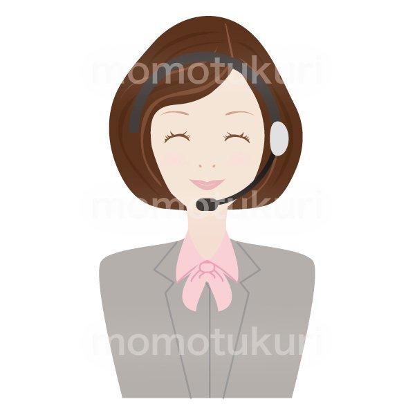 コールセンター女性 OL ビジネス(仕事)上半身 イラスト ニコニコ 笑顔