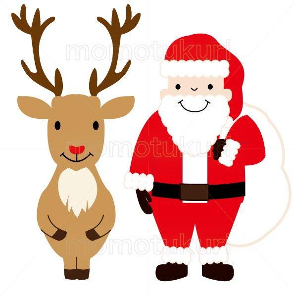 クリスマス トナカイとサンタクロースのイラスト