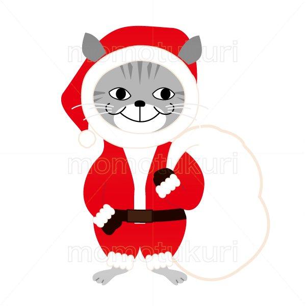 クリスマス 猫のサンタクロースのイラスト