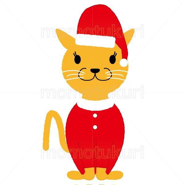 クリスマス 猫のサンタクロースのイラスト 2