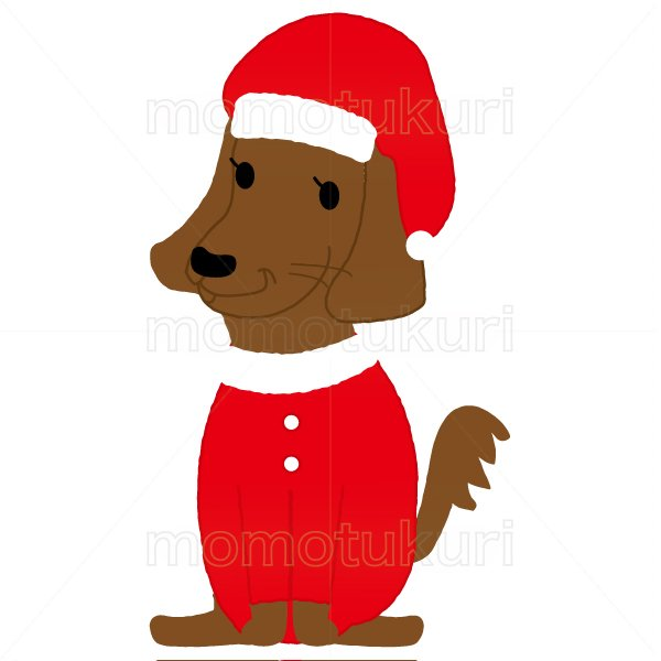 クリスマス 犬のサンタクロースのイラスト