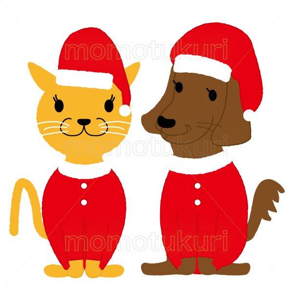 クリスマス ネコと犬のサンタクロースのイラスト