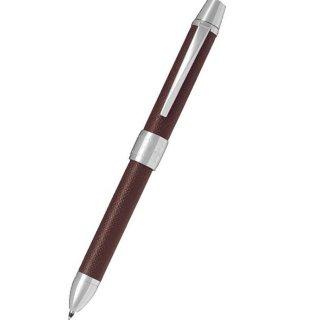 パイロット 複合筆記具(ボールペン黒0.7mm・赤・シャープ0.5mm)ツープラスワンリッジ レザー ブラウン BTHR−3SL−BN