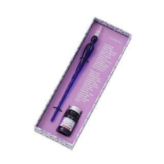 エルバン ガラスペン&香りつきミニインクセット つむぎ ロイヤルブルー&ヴァイオレットパープル 27477 【数量限定】