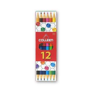コーリン鉛筆 色えんぴつ 787バイカラー 六角 6本12色セット 787-6/12