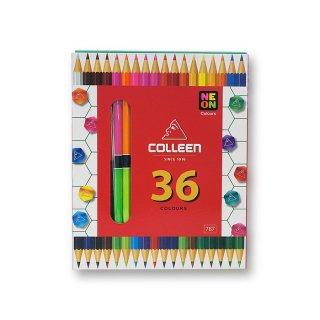 コーリン鉛筆 色えんぴつ 787バイカラー 六角 18本36色セット 787-18/36