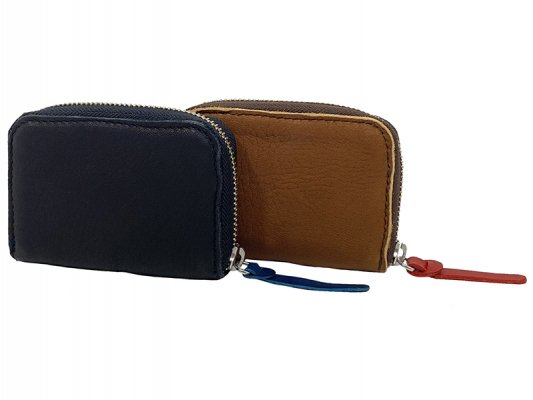 【RE.ACT】Elk Leather Round Fastener Compact Wallet
