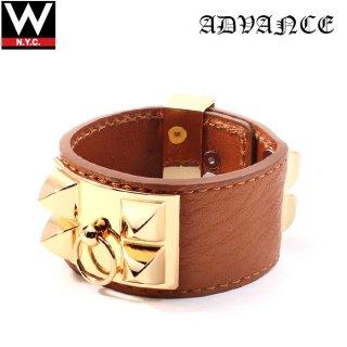 ADVANCE(アドバンス ) シルバー 925 18K ゴールド メッキ レザー ブレスレット