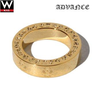 ADVANCE(アドバンス) 925シルバー ゴールド コーティング クロスパターン リング