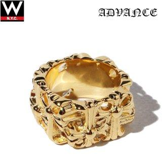 ADVANCE(アドバンス)  925シルバー ゴールド コーティング クロス リング