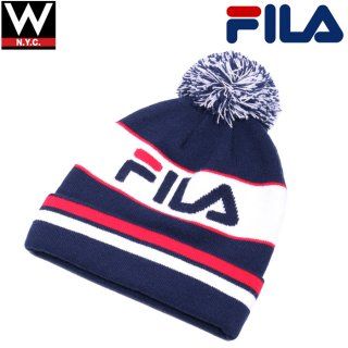 FILA(フィラ) ロゴ ボンボン付き ニットキャップ