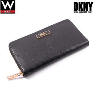 DKNY(ダナキャラン ニューヨーク) オーストリッチ レザー ラウンドファスナー ロング ウォレット 長財布