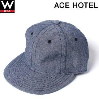 ACE HOTEL(エースホテル) × EBBETS FIELD FLANNELS (エベッツフィールドフランネルズ) コットン 6パネル ストラップバック ベースボール キャップ