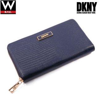 DKNY(ダナキャラン ニューヨーク) パイソン型押し レザー ラウンドファスナー ロング ウォレット 長財布