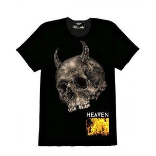 Dom Rebel(ドム レベル) デビルスカル オリジナル デザイン プリント 半袖 Tシャツ