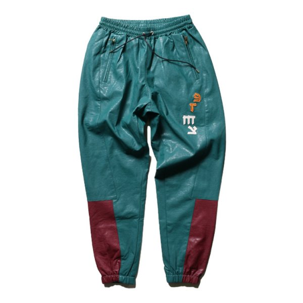GRIMEY CALL OF YORE PU LEATHER TRACK PANTS