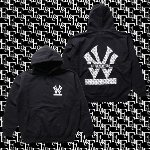 W NYC FUCK MONOGRAM HERITAGE LOGO PULLOVER HOODIE