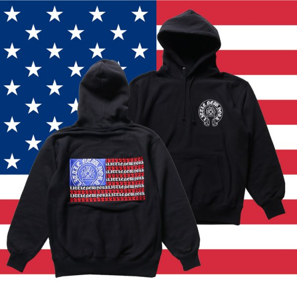W NYC STARS AND STRIPES PULLOVER HOODIE