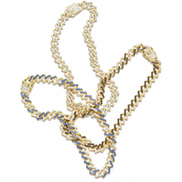 NEWVINTAGE SQUARE MIAMI COLOR NECKLACE (GOLD BASE)