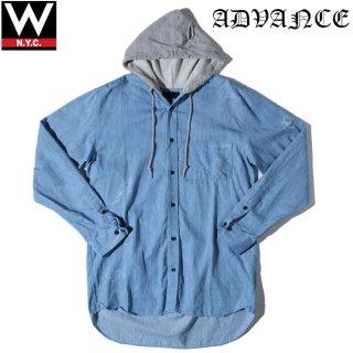 ADVANCE(アドバンス) クラッシュ ダメージ加工 フード付き ロング丈 長袖 シャツ