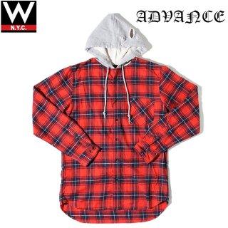 ADVANCE(アドバンス) クラッシュ ダメージ加工 チェック柄 フード付き ロング丈 長袖 シャツ