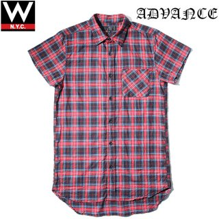 ADVANCE(アドバンス) タータンチェック ロング丈 半袖 シャツ