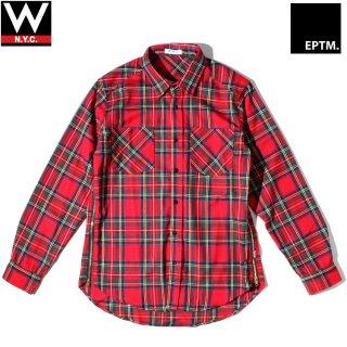 EPTM.(エピトミ) サイドジップ 長袖 チェック シャツ