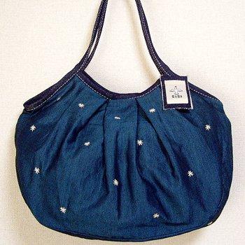 sisiグラニーバッグ 定番サイズ 刺繍 ブルー