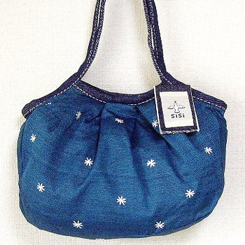 sisiミニグラニーバッグ 刺繍 ブルー